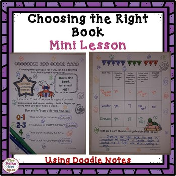 Choosing the Right Book Mini Lesson- Doodle Notes