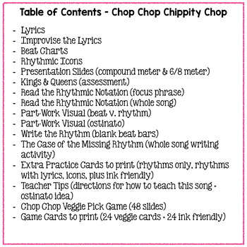 Chop Chop Chippity Chop Compound Meter Rhythm Practice Activities
