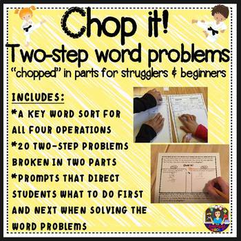 Two Step Word Problems Chopped in 2 Parts - Extra Support