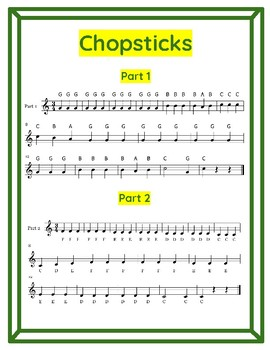 Chopsticks for 2 Recorders (C Major Scale in 3/4 Time)
