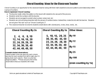 Choral Counting Ideas for the Classroom Teacher (CGI)