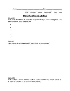Choral Critique: Listening Assignment