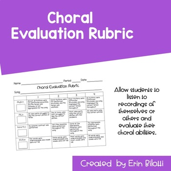 Choral Evaluation Rubric