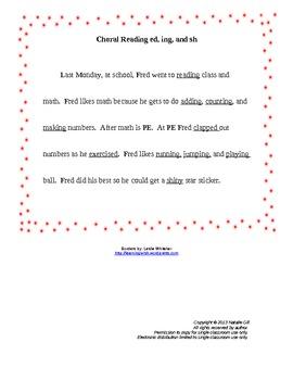 Choral Reading Practice Passage ed, ing, sh