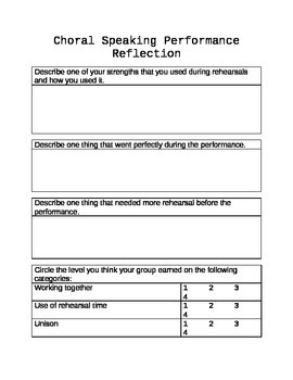 Choral Speaking Performance Reflection