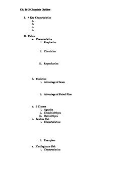Chordate (Vertebrate) Biology Outline