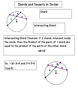 Chords and Secants in Circles INB pages