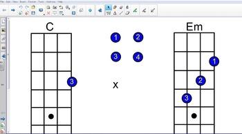 Chords for Ukulele on Smart Board