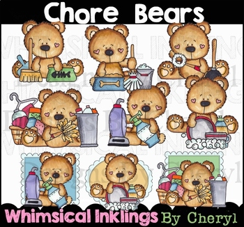 Chore Bears Clipart Collection