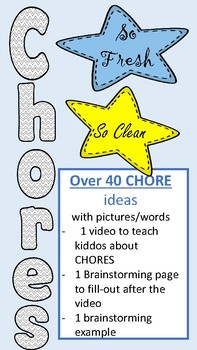 Chore Chart - 40 chore ideas for kids , students and/or  ELL students