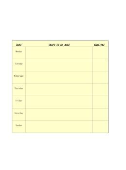 Chore Chart and School Work Checklist