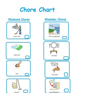 Chore Chart for School Aged Children