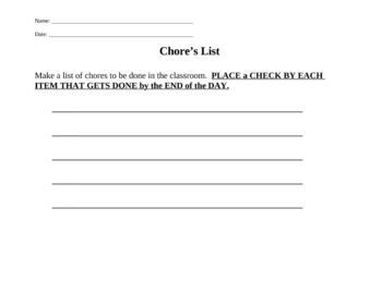 Chore List (Lifeskills)