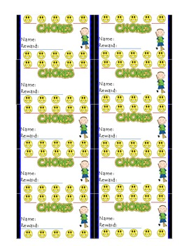 Chore Punch Card System for a Boy