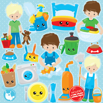 Chore boys clipart commercial use, vector graphics, digital  - CL1032