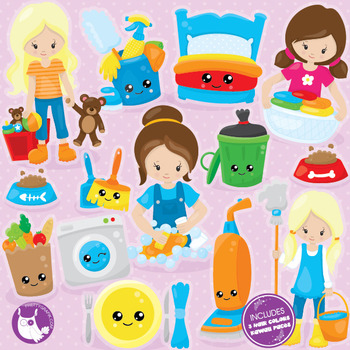 Chore girls clipart commercial use, vector graphics, digit