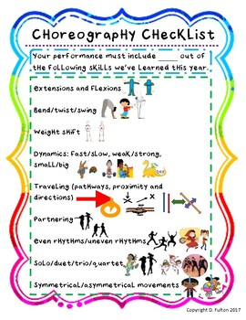 Choreography, Dance Combination Checklist with Visuals-FREEBIE