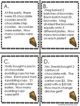 Chores, Chocolate, & Children: One and Two Step Story Problems All 4 Operations