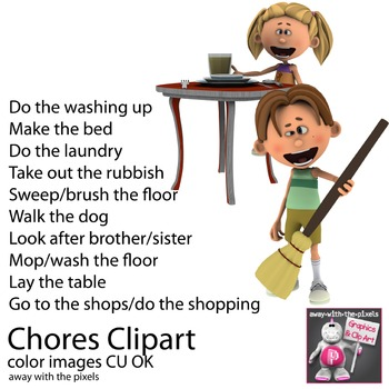 Chores Clipart - Household Task Clip Art (adverbs of frequency)