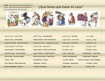Chores & Rooms Ping - Los Quehaceres y Los Cuartos - Game