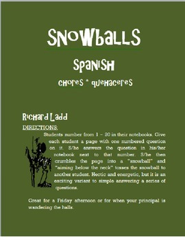 Chores Snowballs SPANISH