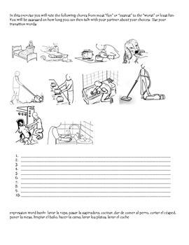 Chores activity Spanish 1 page