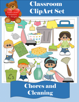 Chores and Cleaning Clipart Set