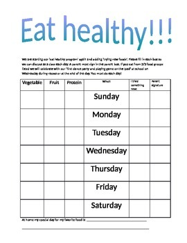 Chores and Healthy Eating