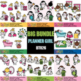 Chores clip art bundle Vol. 4, planner girls clipart routine activities