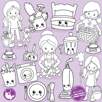 Chores stamps commercial use, vector graphics, images  - DS1030