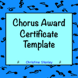 Chorus Award Certificate Editable Template