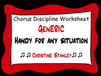 Chorus Discipline Worksheet (Generic)