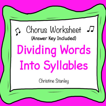 Dividing Words Into Syllable Worksheets Teaching Resources