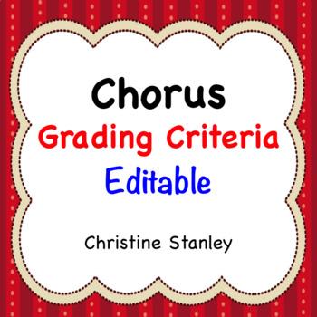 Chorus Grading Criteria Editable