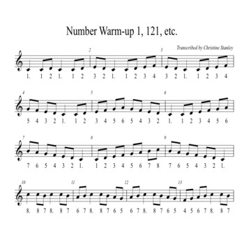 Chorus Number Warm-up 1, 121, 12321, etc. + Solfege