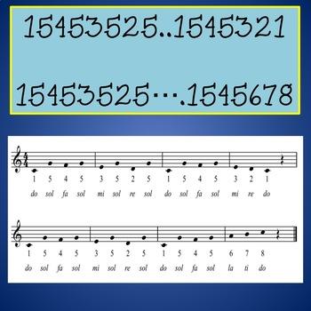 Chorus Warm-up With Numbers  ♫   15453525 .... etc.  ♫ Sheet Music Worksheet