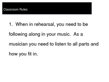 Chorus Room Rules and Procedures