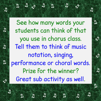 Chorus Timed Worksheet:  Brainstorm Vocabulary Scramble  :-)