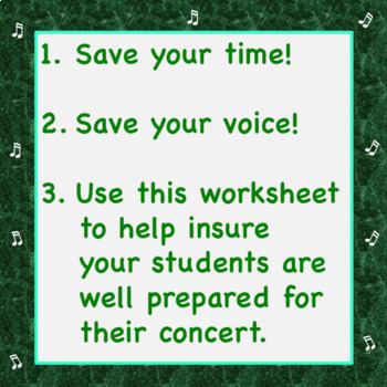Chorus Worksheet & Answer Key:  25 Tips to a Terrific Concert