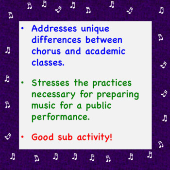 Chorus is a Performance Class! Worksheet + Answer Key ♪ ♪ ♪