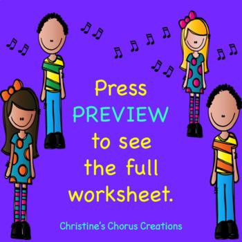 Chorus Post Concert Reflection Worksheet
