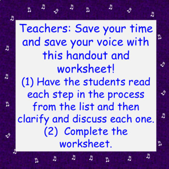 Chorus Ten Steps to Performing a Song ♫ Handout & Worksheet with Teacher Notes
