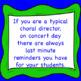 Chorus Concert Day Discussion Preparation Checklist