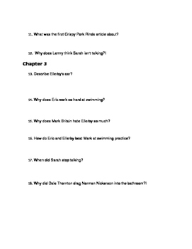 Chris Crutcher ~ Staying Fat for Sarah Byrnes Chapters 1-3 Study Questions