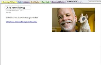 Chris Van Allsburg Comprehension OneNote Pages