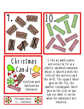 Christmas Candy Addition and Subtraction Math Center
