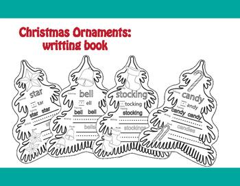 Christas Ornaments: writting book. Freebie