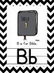 Christian Alphabet for wall { chevron & D'nealian }