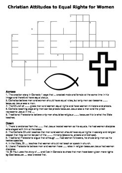 Christian Attitudes to Equal Rights for Women Crossword