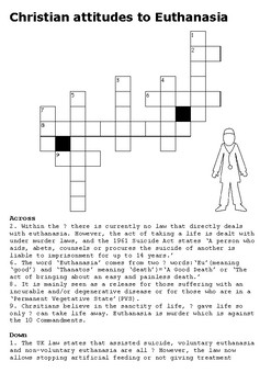 Christian Attitudes to Euthanasia Crossword